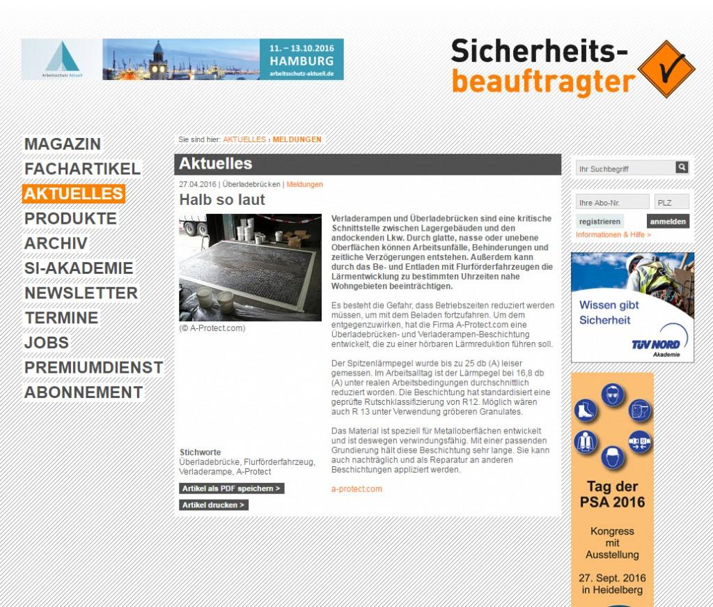 Sicherheitsbeauftragter berichtet von geräuscharmer Ladebrückenbeschichtung